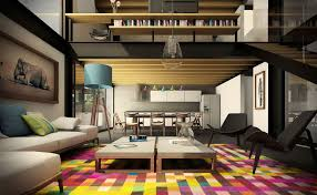 colorful living room decorating ideas with double long coffe table