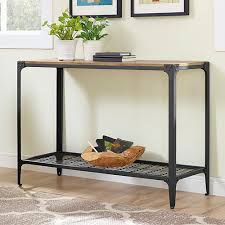 Barn Wood Sofa Table by Walker Edison Furniture Company Angle Iron Barnwood Console Table