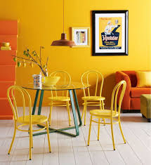 Yellow Dining Chair Glass Pedestal Blue Iron Foot Dining Table Dull Iron Ceiling