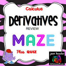 calculus derivative review fun maze and worksheet by joan kessler