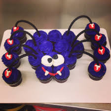 spider cupcake cake with black licorice as legs cupcakes