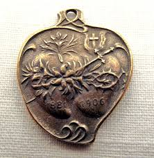 catholic medals bronze immaculate sacred heart medal two hearts catholic