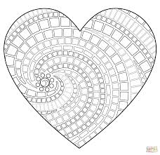 free mosaic patterns print heart mosaic coloring