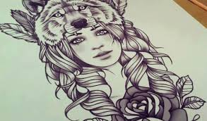 beautiful with wolf and stencil design