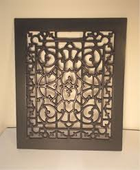 antique fancy decorative cast iron floor heat grate register vent