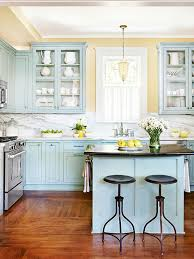 blue painted kitchen cabinet ideas kitchen cabinet color choices better homes gardens