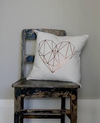 White Heart Bedroom Furniture Copper Geo Heart Pillow Cover Love Heart Cushion Girls Gold