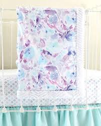 purple watercolor floral baby blanket lottie da baby baby
