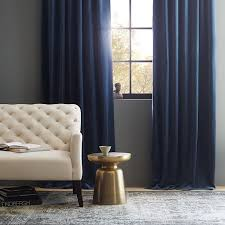 Dusty Blue Curtains Velvet Pole Pocket Curtain Regal Blue West Elm