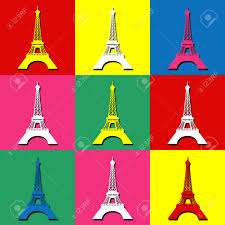 Eiffel Tower Decoration Pop Art Wallpaper With Eiffel Tower Decoration Stock Photo