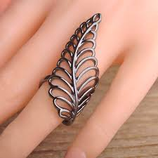 long rings jewelry images Blucome brand hollow flower leaf shaped rings black gun plated jpg
