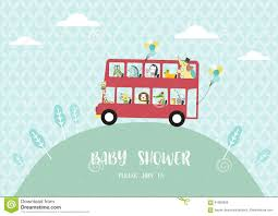 baby shower invitation cards many animals riding on a bus vector