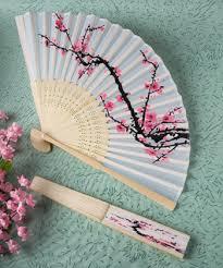 fan favors delicate cherry blossom design silk folding fan favors
