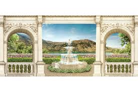 mural maxi view of the garden with a fountain in columns wall mural maxi view of the garden with a fountain in columns