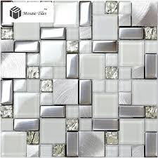 TST Glass Metal Tile Iridescent White Glass Silver Mirror - Glass and metal tile backsplash