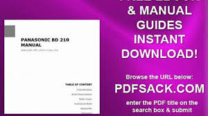panasonic bd 210 manual video dailymotion