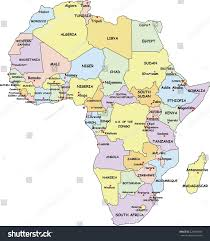 africa map with country names and capitals highly detailed africa political map country stock vector
