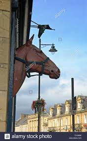 fake horse head fake horse head on building alnwick northumberland england uk