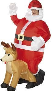 santa sat on reindeer fancy dress costume christmas