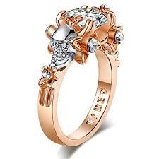 flower rings images Solitaire skull engagement rings for women rose gold simulated jpg