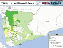 Map Of Yemen Al Houthi Areas Of Influence Critical Threats