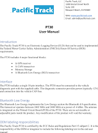 pt30 electronic logging device users manual pt30 usermanualx
