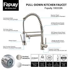 Cartridge Type Faucet Fapully Contemporary Spring Single Handle Kitchen Sink Faucet With