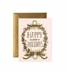 christmas wreath greeting card by rifle paper co made in usa