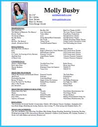 Musical Theatre Resume Examples by Actor Singer Resume Samples Virtren Com