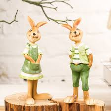 2pcs lot resin rabbit figurines statues small creative animal
