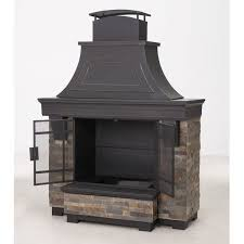 Stacked Stone Outdoor Fireplace - sunjoy japer 72 inch steel and faux stack stone outdoor fireplace
