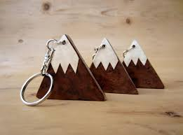 wooden mountain keyring wood handmade c folksy