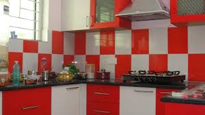 Red Tile Backsplash - red and white kitchens ideas hardwood laminnate bar top stainless