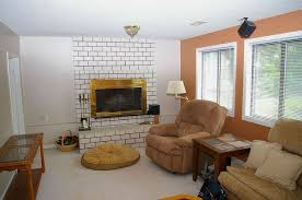 paint your living room ideas would you paint your brick fireplace a bold orange we did hometalk