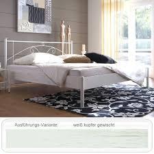 Schlafzimmer Bett Metall Metallbett Barcola Weiß Kupfer Gewischt Größe Nach Wahl Futonbett
