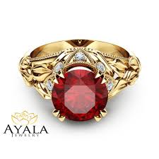 natural ruby rings images Natural ruby leaf engagement ring 14k yellow gold ruby ring custom jpg
