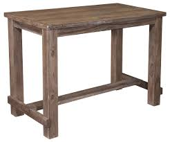 rectangular pine veneer dining room bar table in wire brushed gray