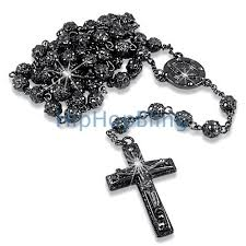 rosary necklaces bling bling fully iced out bead black rosary necklace hip hop