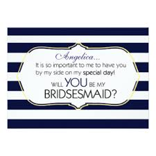 bridesmaid invitations uk navy stripes bridesmaid invitations announcements zazzle co uk