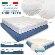 materasso antiallergico ergonomico a 3 strati alto 22 cm foam e memory anallergico traspirante