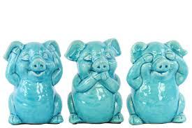 urban trends ceramic standing pig no evil 3 piece figurine set