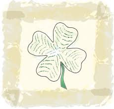 clipart of a paddys day four leaf shamrock clover