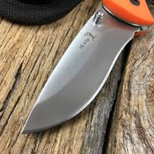 folding knife elk ridge serrated blade hunter skinner orange black