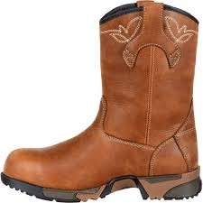 womens work boots rocky s aztec brown pull on composite toe waterproof work