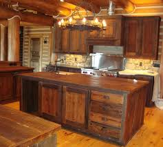 small kitchen design and decoration using rustic solid aged wood