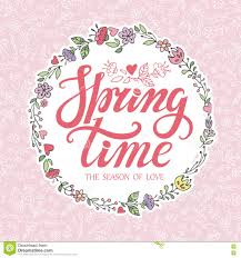 pattern design words spring time lettering pink floral wreath pattern stock vector