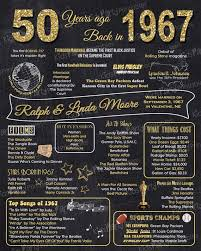50th anniversary gift 1967 50th anniversary chalkboard sign poster our personalized