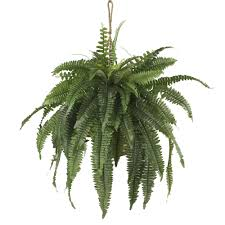 Home Plant Decor by Nearly Natural Large Boston Fern Hanging Basket Silk Plants Home