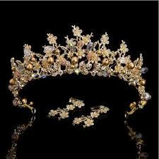 bridal crowns online shop luxury pink gold pearl bridal crowns handmade tiara