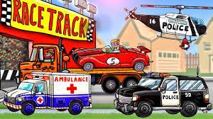 cartoon race car race car u0026 police truck cars cartoons for kids police car
